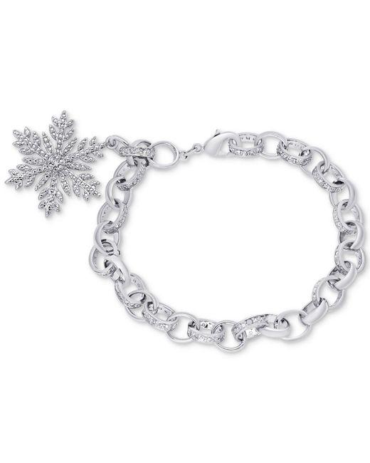 Macy's - Metallic Diamond Accent Snowflake Charm Bracelet In Silver-plate - Lyst