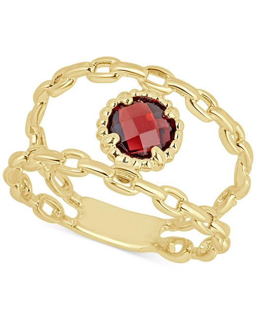 Macy's - Metallic Rhodolite Garnet Double Chain Statement Ring (1-1/10 Ct. T.w.) In 14k Gold - Lyst