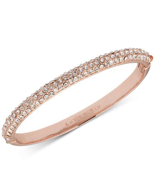 Anne Klein - Pink Rose Gold-tone Crystal Pavé Bangle Bracelet - Lyst