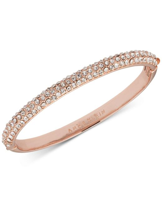 Anne Klein | Pink Rose Gold-tone Crystal Pavé Bangle Bracelet | Lyst