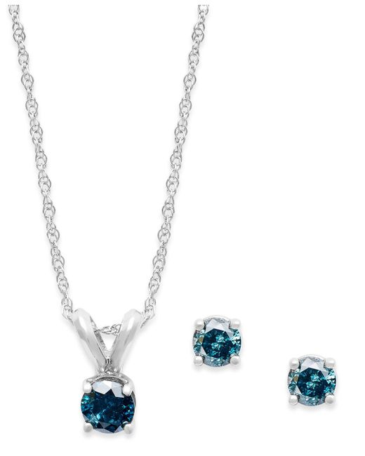 Macy's - 10k White Gold Blue Diamond Necklace And Earring Set (1/5 Ct. T.w.) - Lyst