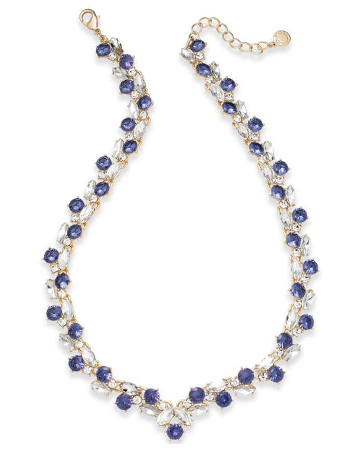Charter Club - Metallic Gold-tone Crystal & Blue Stone Collar Necklace - Lyst