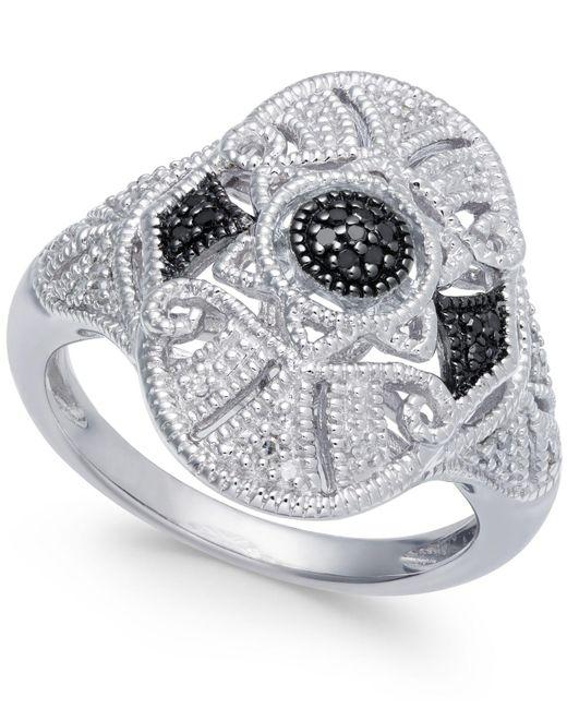 Macy's - Metallic Diamond Fancy Openwork Ring (1/8 Ct. T.w.) In Sterling Silver - Lyst