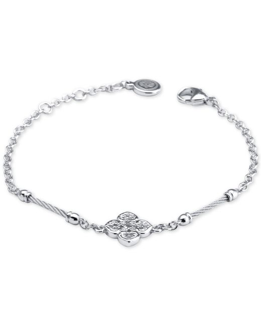 Charriol - Metallic Le Fleur Silver Bracelet With White Topaz And Stainless Steel Cable - Lyst