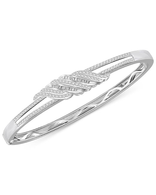 Macy's - Metallic Diamond Twist Bangle Bracelet (1 Ct. T.w.) In Sterling Silver - Lyst