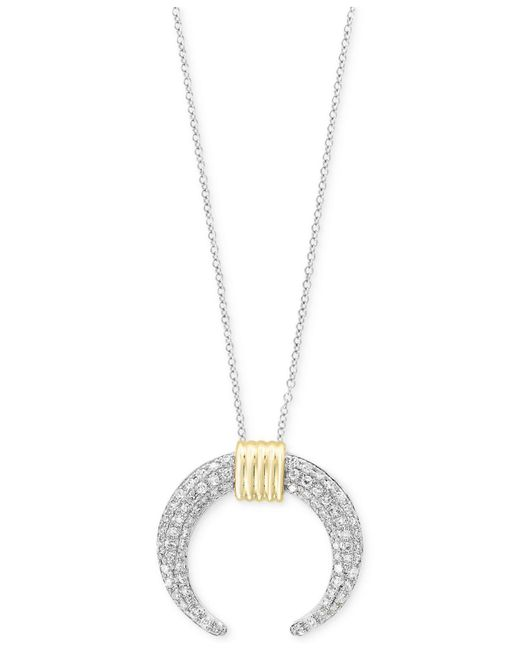 Effy Collection | Metallic Diamond Two-tone Crescent Pendant Necklace (3/8 Ct. T.w.) In 14k Gold And White Gold | Lyst