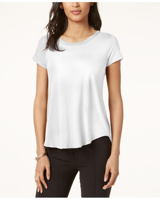 Alfani - White Petite Short-sleeve High-low Tee - Lyst