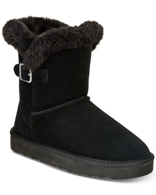 Style & Co.   Black Tiny Low Shaft Faux-fur Cold Weather Booties   Lyst