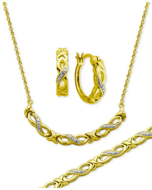 Macy's | Metallic Diamond Accent Infinity Hoop Earrings, Collar Necklace And Link Bracelet Set In 18k Gold Over Silver-plate | Lyst