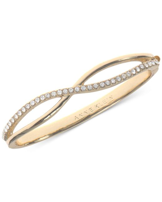 Anne Klein - Metallic Gold-tone Crystal Crisscross Bangle Bracelet - Lyst