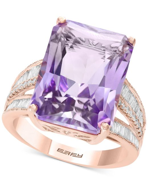 Effy Collection - Effy® Pink Amethyst (15-1/2 Ct. T.w.) & Diamond (3/8 Ct. T.w.) In 14k Rose Gold (also Available In Citrine) - Lyst