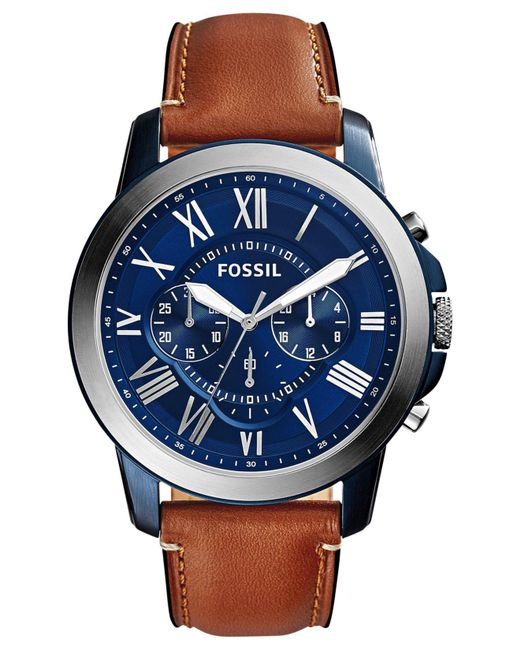 Fossil | Blue Men's Chronograph Grant Light Brown Leather Strap Watch 44mm Fs5151 for Men | Lyst