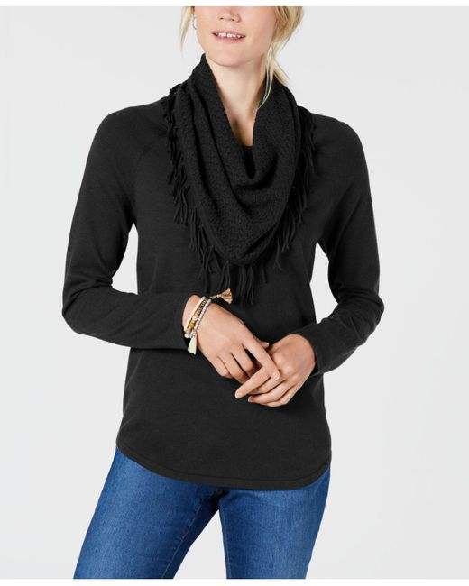 Lyst Style Co Fringe Trimmed Cowl Neck Sweater Created For