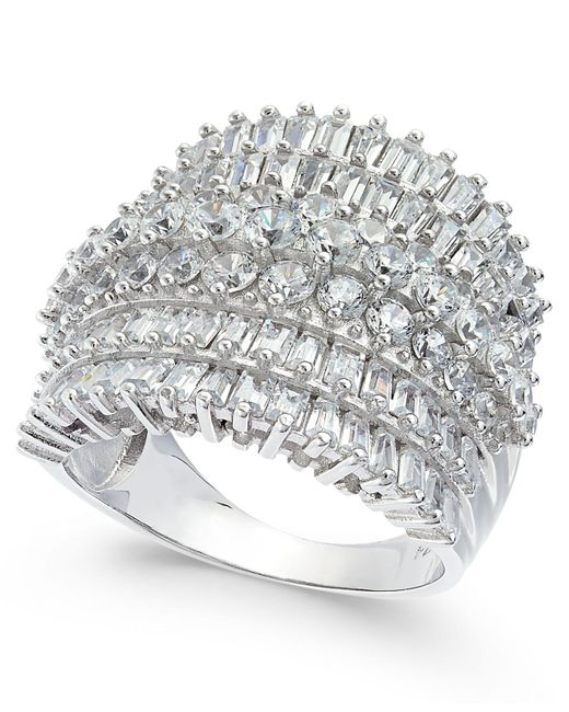 Macy's | Metallic Cubic Zirconia Multi-row Cluster Statement Ring In Sterling Silver | Lyst