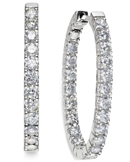 Macy's - In-and-out Diamond Hoop Earrings (3 Ct. T.w.) In 14k White Gold - Lyst