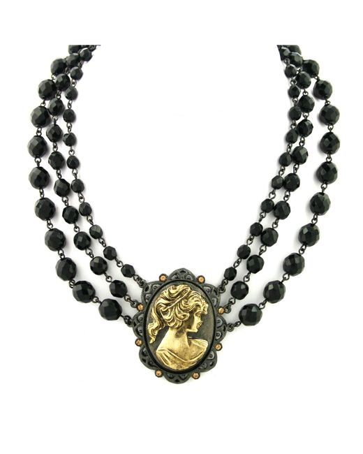 "2028 - Black-tone And Gold-tone Triple Strand Cameo Necklace 16"" Adjustable - Lyst"