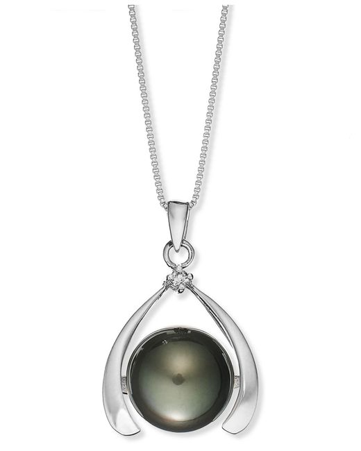 Macy's | Metallic Sterling Silver Necklace, Cultured Tahitian Pearl (11mm) And Diamond Accent Pendant | Lyst