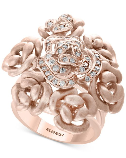 Effy Collection - Multicolor Diamond Bouquet Ring (1/3 Ct. T.w.) In 14k Rose Gold - Lyst