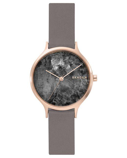 Skagen - Gray Anita Grey Leather Strap Watch 34mm - Lyst