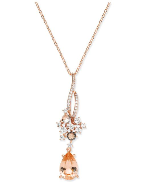 Danori - Metallic Rose Gold-tone Teardrop Stone & Cluster Pendant Necklace - Lyst