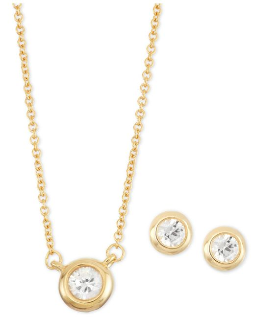 Macy's - Metallic White Sapphire 2-pc. Bezel-set Stud Earring And Pendant Necklace Set (1/2 Ct. T.w.) In 14k Gold-plated Sterling Silver - Lyst