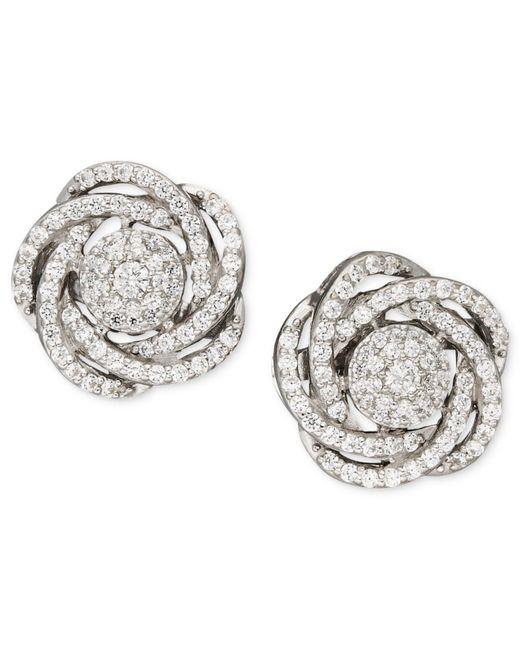 Wrapped in Love - Metallic Diamond Earrings, 14k White Gold Diamond Pave Knot Earrings (1 Ct. T.w.) - Lyst