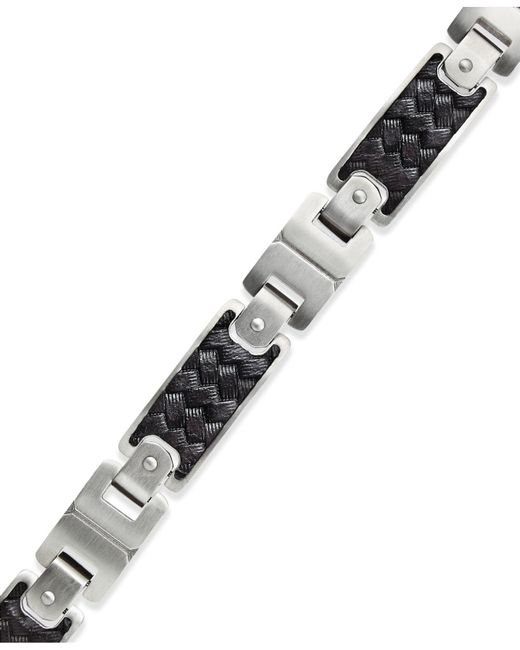 Macy's - Men's Black Leather And Stainless Steel Link Bracelet for Men - Lyst