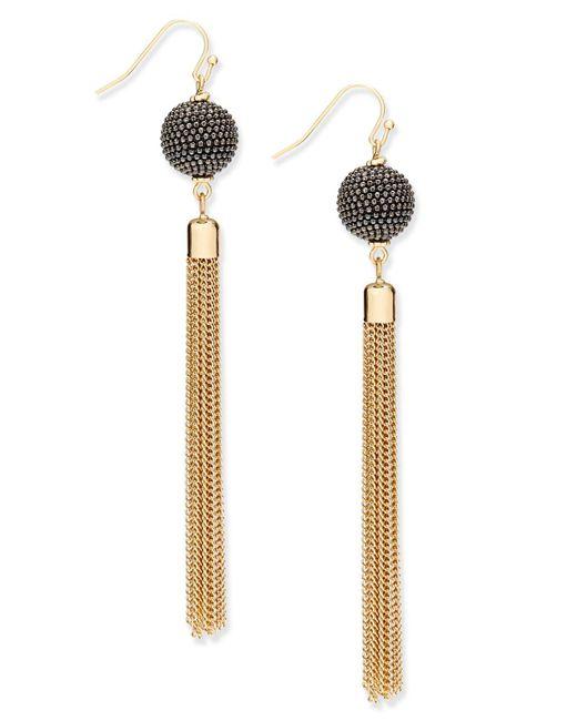 INC International Concepts | Metallic Gold-tone Pavé Ball & Tassel Drop Earrings | Lyst