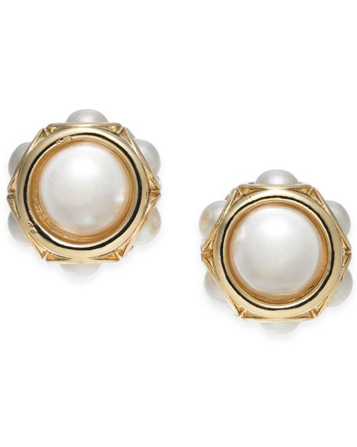 Charter Club - Metallic Gold-tone Imitation Pearl Stud Earrings, Created For Macy's - Lyst