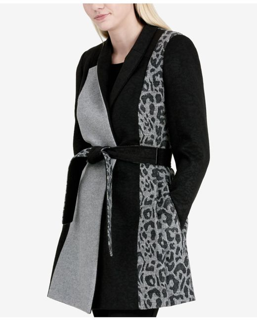 Calvin Klein | Black Mixed-media Wrap Coat | Lyst