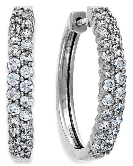 Macy's - Diamond Two-row Hoop Earrings In 14k White Gold (1 Ct. T.w.) - Lyst