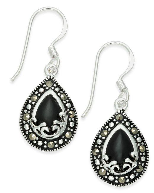 Macy's - Metallic Onyx (1-9/10 Ct. T.w.) & Marcasite Drop Earrings In Fine Silver-plate - Lyst