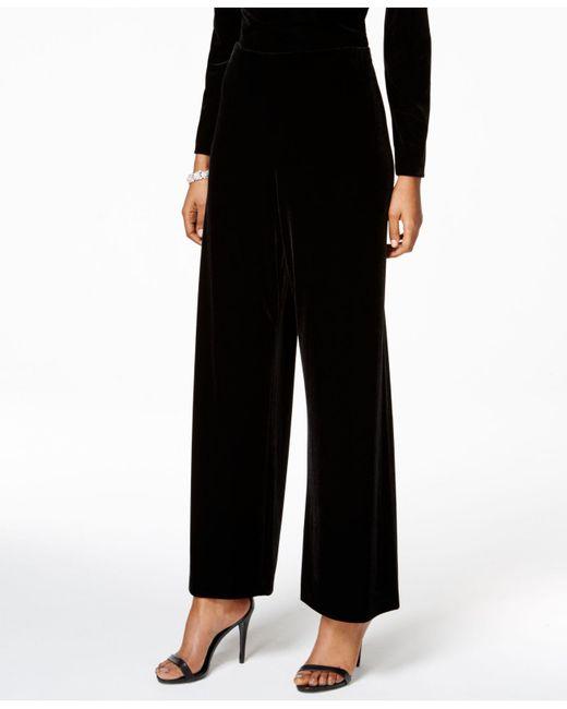 Alex Evenings   Black Petite Velvet Wide-leg Pants   Lyst