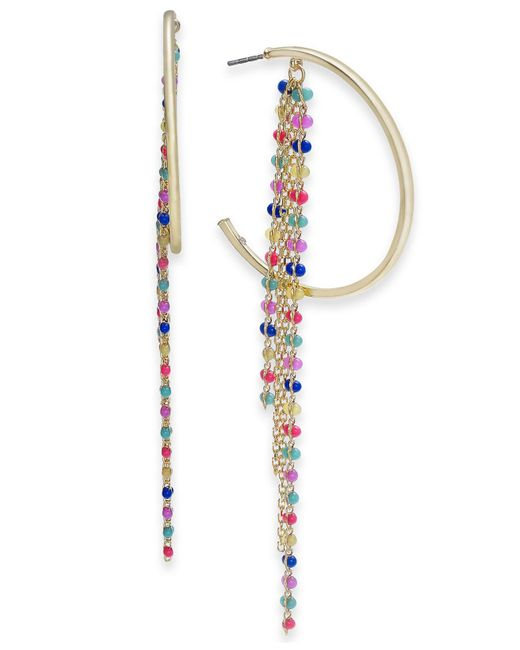 INC International Concepts - Metallic I.n.c. Extra Large Gold-tone Multicolor Bead Fringe Hoop Earrings, Created For Macy's - Lyst