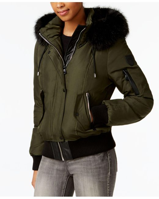 Vince Camuto | Green Mixed-media Down Bomber Coat | Lyst