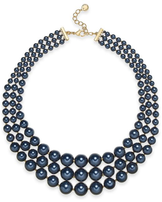 """Charter Club - Multicolor Gold-tone Graduated Imitation Pearl Triple-row Statement Necklace, 18"""" + 2"""" Extender, Created For Macy's - Lyst"""
