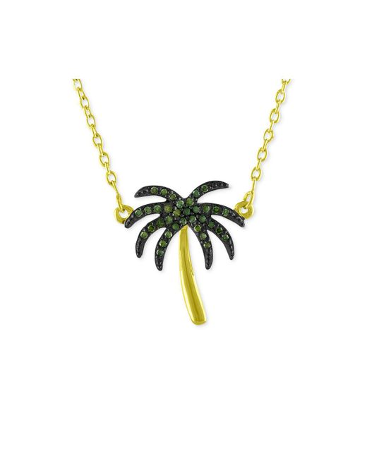 Macy's - Metallic Diamond Palm Tree Pendant Necklace (1/10 Ct. T.w.) In 14k Gold-plated Sterling Silver - Lyst