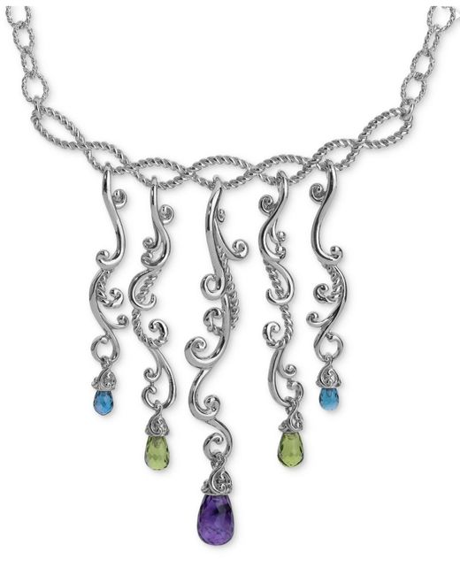 Carolyn Pollack - Metallic Multi-gemstone Statement Necklace (8-1/2 Ct. T.w.) In Sterling Silver - Lyst