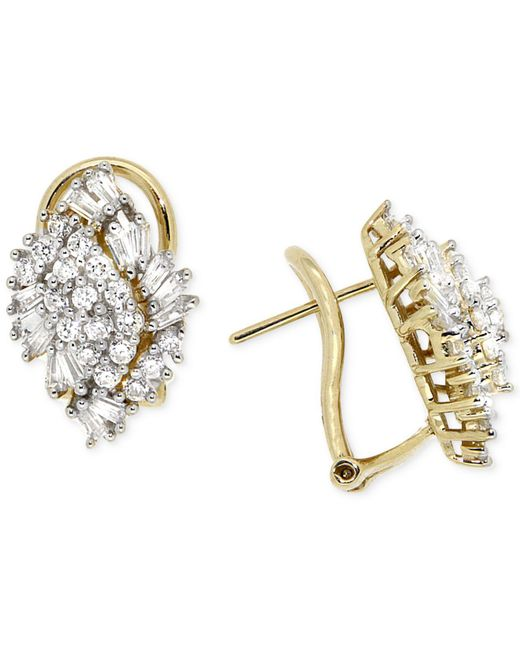 Wrapped in Love - White Diamond Cluster Earrings (1 Ct. T.w.) In 14k Gold - Lyst