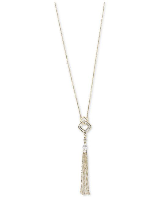 Macy's - Metallic Diamond Tassel Lariat Adjustable Necklace (1/6 Ct. T.w.) In 14k Gold - Lyst