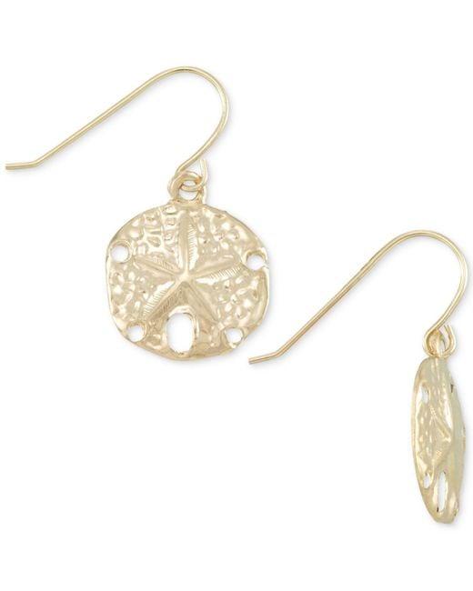 Macy's - Metallic Sand Dollar Drop Earrings In 10k Gold - Lyst