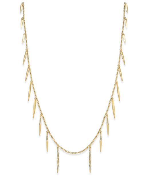 ABS By Allen Schwartz   Metallic Gold-tone Fringe Illusion Necklace   Lyst