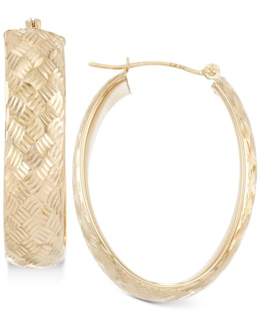 Macy's | Metallic Wide Textured Oval Hoop Earrings In 14k Gold | Lyst