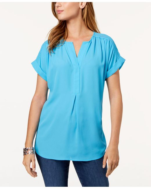 Charter Club - Blue Cuffed-sleeve Split-neck Top, Created For Macy's - Lyst