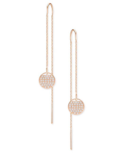 Swarovski - Metallic Ginger Crystal Circle Threader Earrings - Lyst
