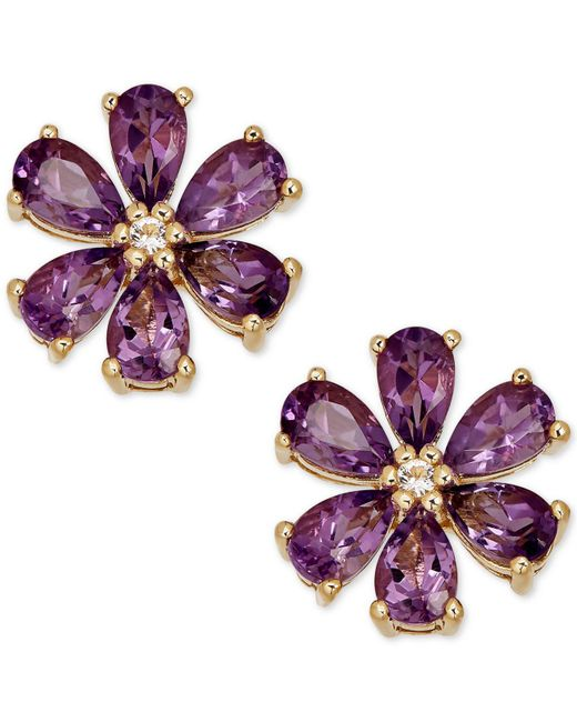 Macy's - Purple Amethyst (2-1/6 Ct. T.w.) & Diamond Accent Stud Earrings In 14k Gold - Lyst