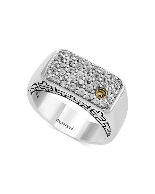 Effy Collection - Metallic Men's White Sapphire Cluster Ring (1-3/8 Ct. T.w.) In Sterling Silver & 18k Gold for Men - Lyst