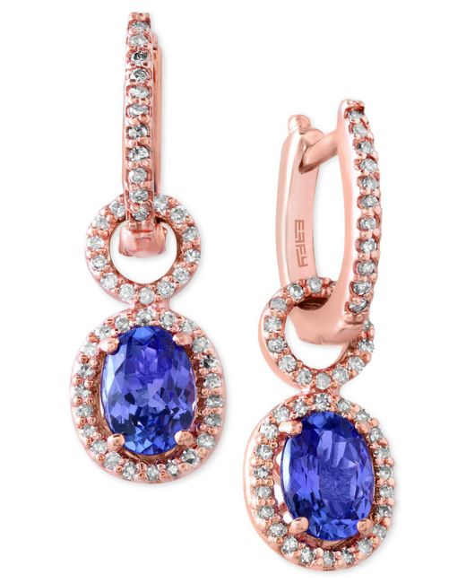 Effy Collection | Blue Tanzanite (1-1/3 Ct. T.w.) And Diamond (1/3 Ct. T.w.) Drop Earrings In 14k Rose Gold | Lyst