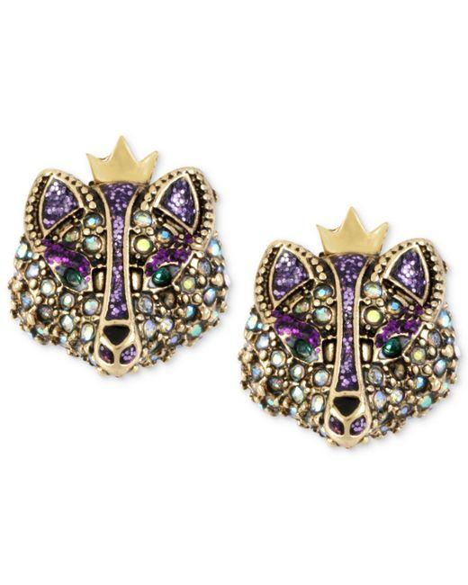 Betsey Johnson - Metallic Gold-tone Crystal Fox Stud Earrings - Lyst