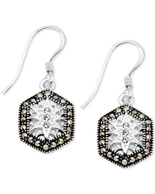Macy's - Metallic Crystal & Marcasite Hexagon Drop Earrings In Fine Silver-plate - Lyst